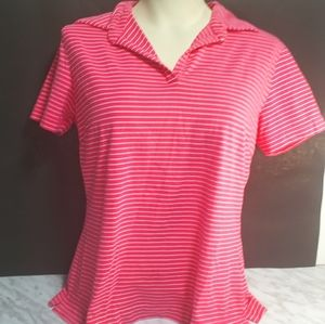 Nike Pink and White Stripped Golf Polo